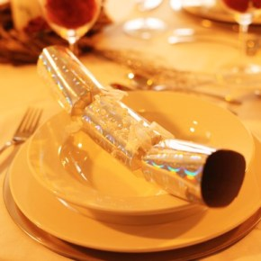 Dinner Place Setting with a Christmas Cracker